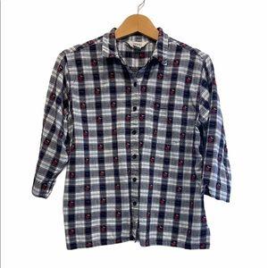 Vintage Fall Apples Checkered Farmhouse Style Blue & White Shirt Size M GUC
